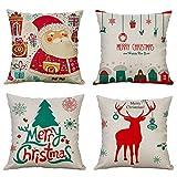 MIULEE Set di 4 Cuscino Stampato Lino Natale Decorazioni Federe Decorativo Quadrato Federe Cuscino...