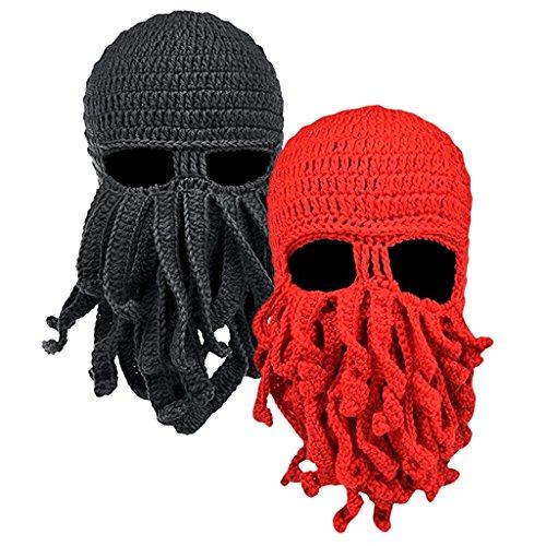 MagiDeal 2er Set Lustige Bartmütze Stickmütze mit Bart Maske Krake Kostüm