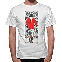 T-shirt Uomo George Best vintage foto Top Player - Bianco