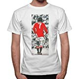 thedifferent T-Shirt Uomo George Best Vintage Foto Top Player - Bianco (L)