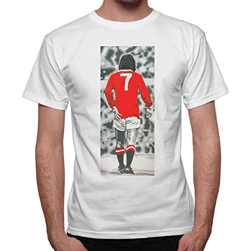 T-shirt Uomo George Best vintage foto Top Player - Bianco (XL)