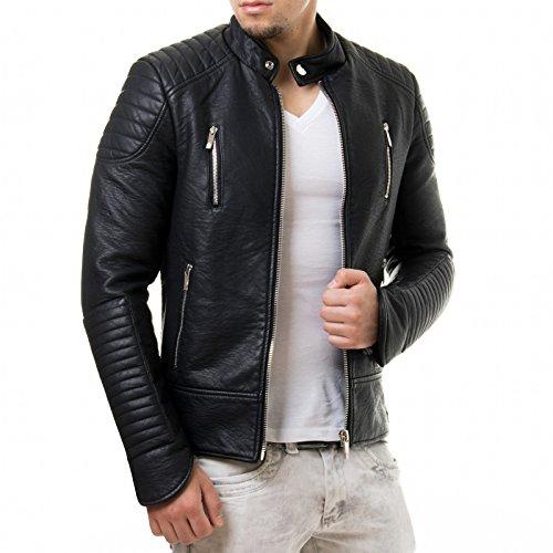 Prestige Homme Herren Kunst Lederjacke Biker Style Zipper Gesteppt PR19, Größe:XL;Farbe:Schwarz