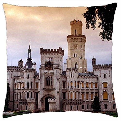 Castello Hluboka Repubblica Ceca-Throw Pillow Cover Case (45,7x 45,7cm)