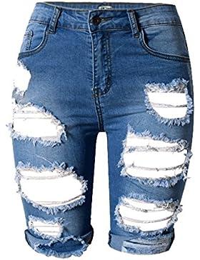 AJ FASHION Donna Sdrucito Pantaloncini Jeans Lunghezza Al Ginocchio A Vita Alta Strappato Jeans