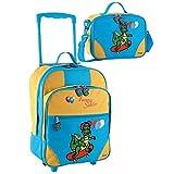 2 tlg. Kinderset - Trolley und Reisetasche mit Drachenmotiv