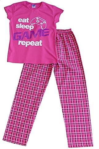Girls Eat Sleep Game Repeat Long Pyjamas 9 to 13 Years Gamer PJs Pink (9-10 Years)