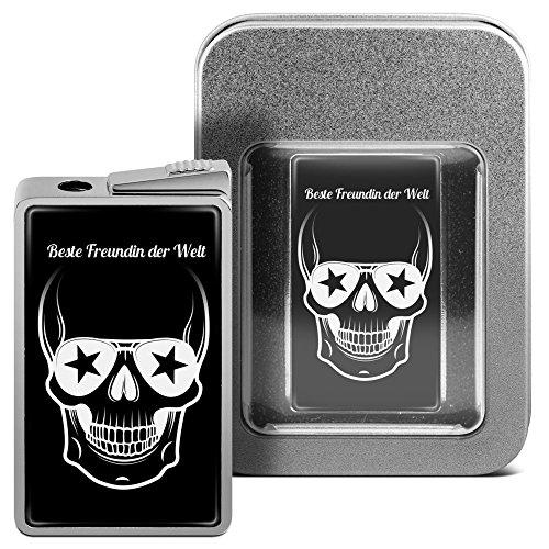 Feuerzeug mit Namen Beste Freundin der Welt - personalisiertes Gasfeuerzeug mit Design Totenkopf - inkl. Metall-Geschenk-Box
