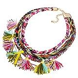 YAZILIND ethnische Art Mehrschichtige Seil Leder Tassel Lätzchen Multicolor Statement-Kragen Kette für Frauen