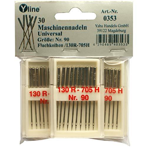 Yline 30 Nähmaschinennadeln Universal Nr.90 Flachkolben 130R/705H für Nähmaschine, 0353