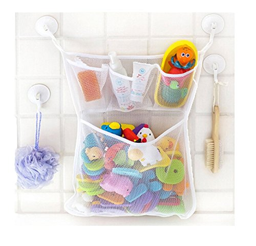 e Spielzeug Aufbewahrungstasche Tasche Badespielzeug Netz Organizer Ordentlich Toys Mesh Beutel Mit 2 Saugwirkung Haken (Dusche Bag)