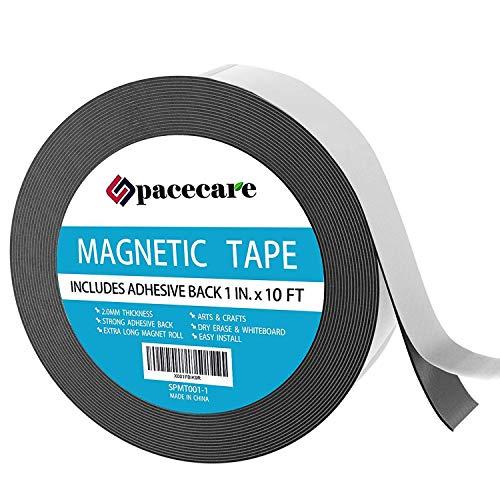 Super Peel (SPACECARE Magnetband 2,5cm X 16,6Füße Unglaublich Starke und Flexibel-Peel & Stick Selbstklebende Rückseite-Leicht zu Schneiden-Starker Magnet Flux 1-Pack (1 in x 10 ft) [Stronger])