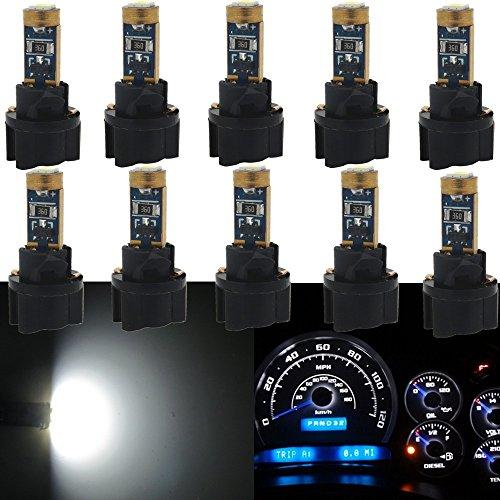 WLJH Lot de 10 Twist Douille T5 74 2721 37 3030smd 12V CANBUS Wedge LED Blanc Cluster de jauge de tableau de bord Tableau de bord Indicateur ampoules