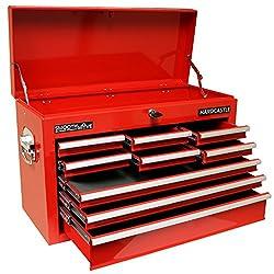 Hardcastle - Werkzeugwagen in Kastenform - Mit 9 Schubfächern und Schloss für oberes Fach - Rot