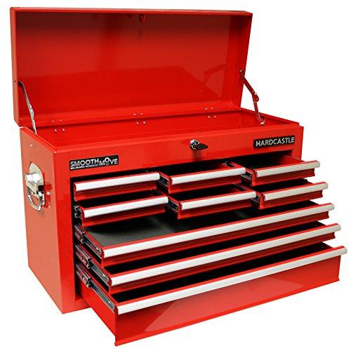 Hardcastle Boite Supérieure a 9 Tiroirs Verrouillable de Coffre à Outils Rouge
