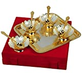 Odna Bichona Silver And Gold Plated Floral Shaped Brass Bowl 9 Pcs Set (48X5.75X40, Silver and Golden)