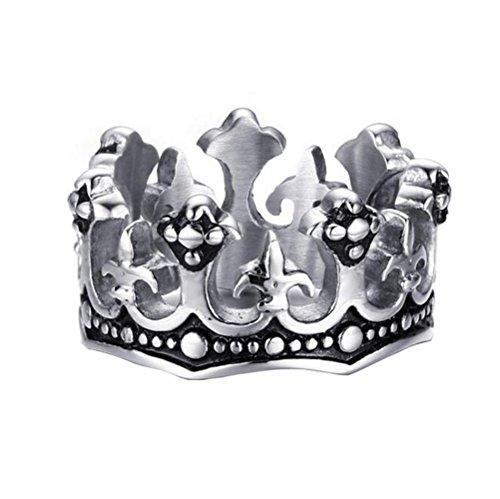 HIJONES Herren Edelstahl der Königliche Art König Kronen Ring Silber Schwarz Ton Größe 57