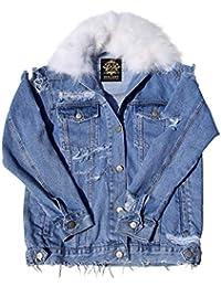 Jeansjacke Oversize - Lucia Damen Jacke mit Echtem Besatz aus Fuchs  (Abnehmbar) 6ffa4a906a