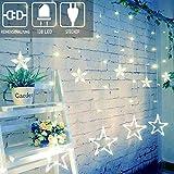 12 Sterne Lichterkette,138LED warmweiss Lichtervorhang weihnachtslichter Sternenvorhang 8 Modi Innen Außen Sterne Vorhang Lichter Für Party,Hochzeit,Garten, Balkon,Schlafzimmer Deko weiß