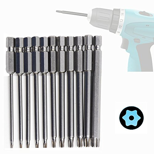 11 piezas magnético torx Vástago hexagonal 75mm largo extensión 1/4 puntas de Torx de seguridad Destornillador Bit T6-T40mm