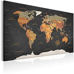 murando Carte du Monde 120x80 cm Tableau en Liège & Tableau sur Toile Intissee XXL Impression Tableaux d'affichage Décoration Photo Image Artistique Photographie Graphique Memoboard k-C-0048-p-c