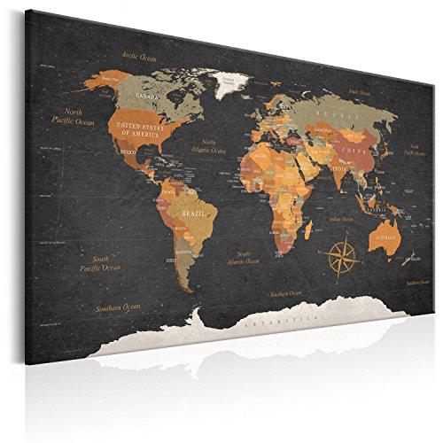 murando – Tableau liege avec un vrai châssis bois – 120x80 cm – Tableau en liege – Carte du monde Poster k-C-0048-p-c