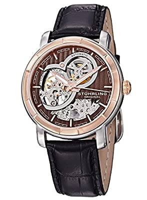 Stuhrling Original Men's Automatic Watch with Rose Gold Dial Analogue Display and Stainless Steel Rose Gold Plated Bracelet 169.33R569