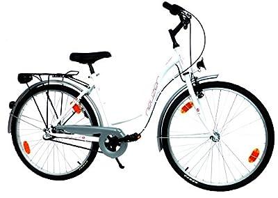 "NEUZER Damen Cityrad Citybike CTB 26"" Zoll (=66cm) 3 Gang SHIMANO StVZO-Ausstattung weiß-rot"
