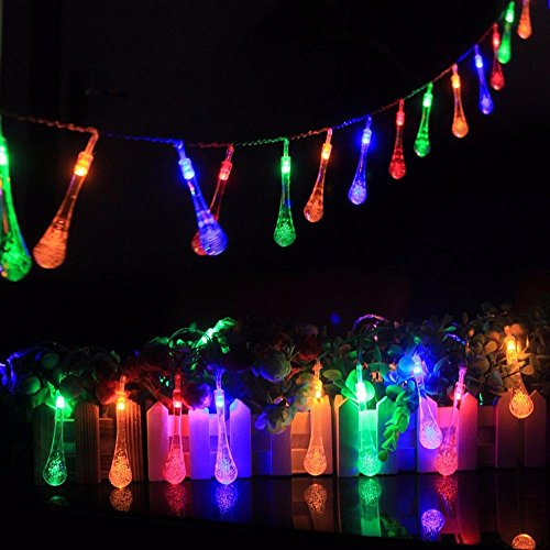 light battery model LED water droplet flashing light string 1.5M 10 LED Colorful Glow Water Drop String Lights Party Wedding Decor Lights Decorazione domestica (multicolore, 1.5M)