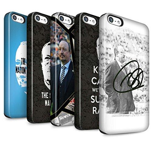 Officiel Newcastle United FC Coque / Matte Robuste Antichoc Etui pour Apple iPhone SE / Pack 8pcs Design / NUFC Rafa Benítez Collection Pack 8pcs