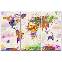 Peinture d'art murale, impression sur toile décorative pour la maison - Aquarelle représentant la mappemonde en couleur - Objet de décoration pour le salon - Œuvre d'art moderne sur 3 panneaux encadrés