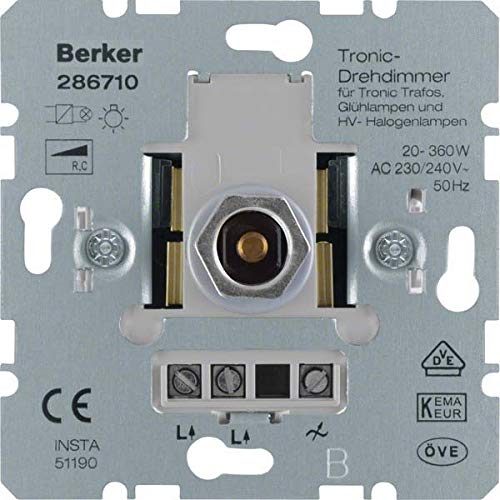 Berker 286710 Integrado Regulador de intensidad Metálico regulador - Reguladores (Regulador de intensidad, Integrado, Giratorio, Metálico)