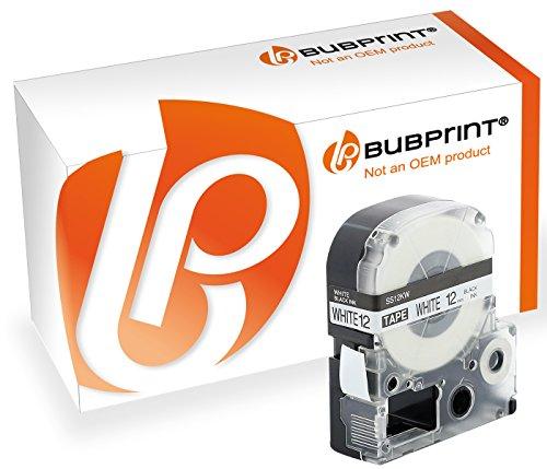 Bubprint Schriftband kompatibel für Epson SC12KW schwarz auf weiß 12mm LabelWorks LW-300 LW-400 LW-600P