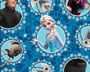 Tissu en polaire Frozen Elsa Ana Hans Bleu–0,5m multiples–Polaire 100% polyester