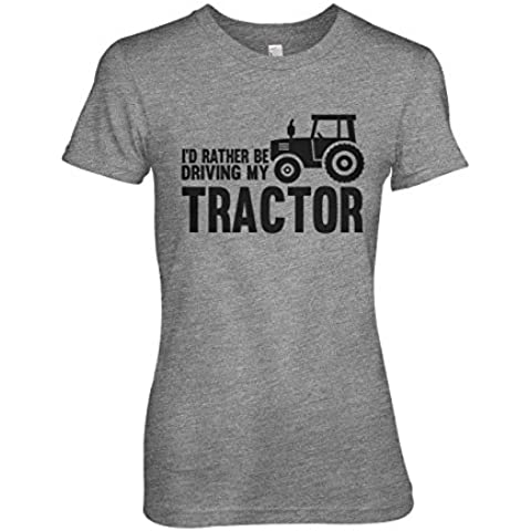 I'd Rather Be Driving My Tractor Gracioso Farmer Mujeres T-Shirt Camiseta
