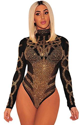 DEMU Damen Body Strass Bustier Sheer Mesh Langarm Bodysuit Top Overall Jumpsuit Lingerie Bodycon Schwarz S -