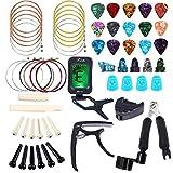 Bosunny Kit D'accessoires pour Guitare 60 PCS,Comprenant: Médiators,Capodastre,Accordeur,Cordes de Guitare Acoustique,Enrouleur de Cordes 3 en 1,épingle de Bridge,Elle de Bridge et écrou à 6 Cordes.