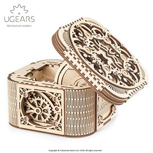 UGEARS 3D Holzbausatz Schmuckkiste, Schatztruhe, ohne Klebstoff, für Kinder und Erwachsene, Puzzle