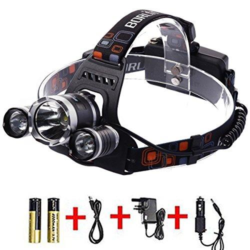 BORUIT Wiederaufladbare LED-Taschenlampe HEAD LIGHT mit 4 Modi, 5000 Lumen Wasserdicht Scheinwerfer, XM-L T6 + 2R2 verstellbar Kopflampe Taschenlampe Kopf Lampe für Camping Jagd Wandern Laufen Radfahren Outdoor Licht mit UK-Stecker