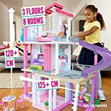 Barbie Estate Dreamhouse Adventures Large Three-Story Dolls House, Pink with Transforming Accessories Included Playset