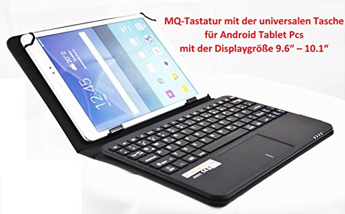 MQ - Android Tablet Pc 9.6'-10.1' Bluetooth Tastatur Tasche Hülle mit integriertem Multifunktions-Touchpad für Asus ZenPad, Medion Lifetab, Fujitsu Stylistic, Huawei MediaPad, Odys, Sony Xperia Z4, Lenovo Tab, Acer Iconia | Layout QWERTZ