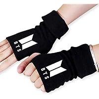 ReNice 1 Paio di Guanti BTS Winter Warm Knit Fingerless con 1 Adesivo 3D 2 Carte Lomo per A.R.M.Y