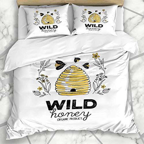 Soefipok Bettbezug-Sets Bienenhonig Label Bio Abstrakt Lebensmittel Bienenwaben Getränk Bienenstock Bienenstock Vintage Zeichnung Mikrofaser Bettwäsche mit 2 Pillow Shams (Bio-bienenhonig)