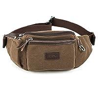 Eshow Men's Waist Pack Funny Bag Bum Bags Canvas Sports Running Brown