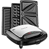 VonShef 3 in 1 Sandwich/ Panini Maker, Waffle Iron & Grill with Removable Plates - 700W - Stainless Steel - Free 2 Year Warranty