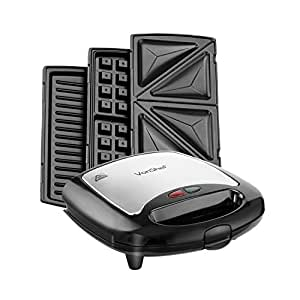 Vonshef 3 in 1 sandwich panini maker waffle iron grill with removable plates 700w - Health grill with removable plates ...