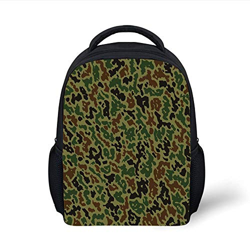 Kids School Backpack Camouflage,Military Green Pattern Abstract Formless Design Blending into The Forest Decorative,Green Brown Black Plain Bookbag Travel Daypack -