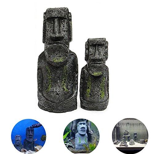 Anddod 2PCS Resin Easter Island Statues Set Fish Tank Ornament Aquarium Decoration (Easter Island Aquarium)