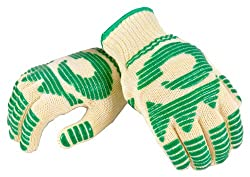 G & F 1684L Best Of Heat Resistant Oven Gloves, Withstands Extreme Heat, Flexible 5 Finger Oven Mitt For Grill, Cooking And Fireplace, Fits Most Hands, Sold By 1 Pair, Large