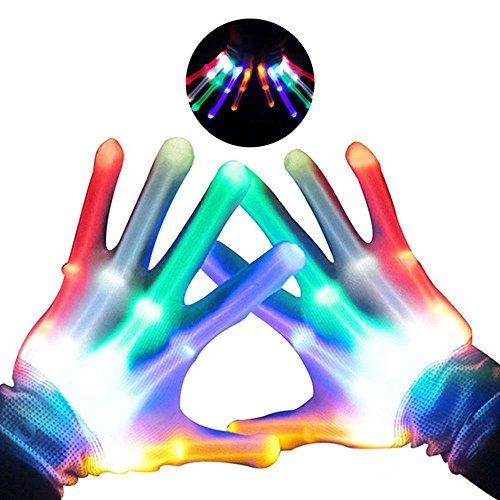 Teepao LED Leuchtende Skelett-Handschuhe, Handschuhe Glow mit Multi Modi, Bunten Finger Beleuchtung für Vereine/Raves/Festivals/Halloween/Bonfire Night/Party/Spiele (Weiß) Mutilcolor