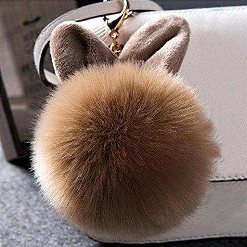 Fami Donne Pelliccia del coniglio sfera Portachiavi Bag Plush Car Key pendente dell'anello chiave auto CO
